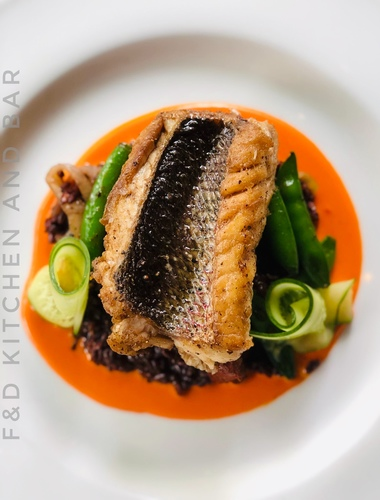 Yellowtail Snapper, wild black rice, snap peas, cucumbers, red pepper velouté