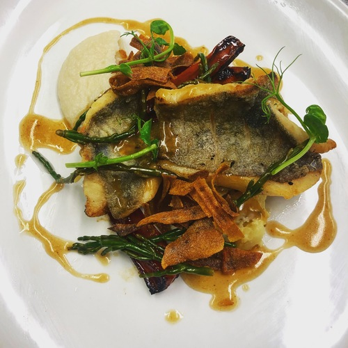 Fillets of John Dory, crushed tatties, cauliflower purée, pickled samphire, roasted carrots, crispy carrots & chicken butter sauce.