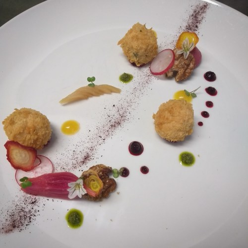 Vegan cream cheese bon bons, beetroot, candied walnuts