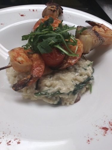 Blackened shrimp skewers mushroom spinach risotto