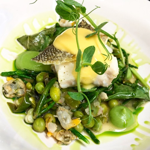 Cod / pickled yolk / samphire / peas / cockles