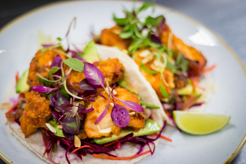 Cod taco, lime red cabbage slaw