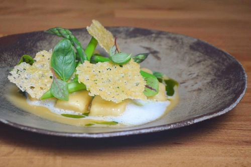Potato gnocchi & black garlic, green asparagus, parmesan tuile, herbal oil #vegetarian #springmenu #lisbon