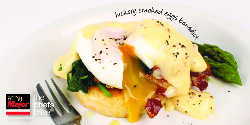 Hickory Smoked Eggs Benedict, using our Major Hickory & Applewood Smoke Liquid Seasoning in the Hollandaise Sauce