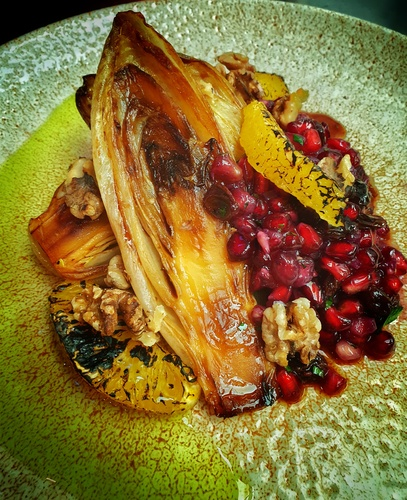 Soy braised chicory, pomegranate, burnt orange