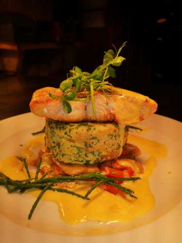 Pan roasted Sea trout fillet mids cake braised fennel red pepper samphire hollandaise