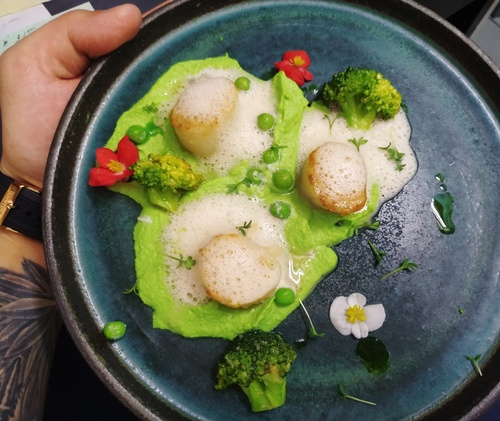 pea cream, scallop, foam from fish demiglyas and jeera