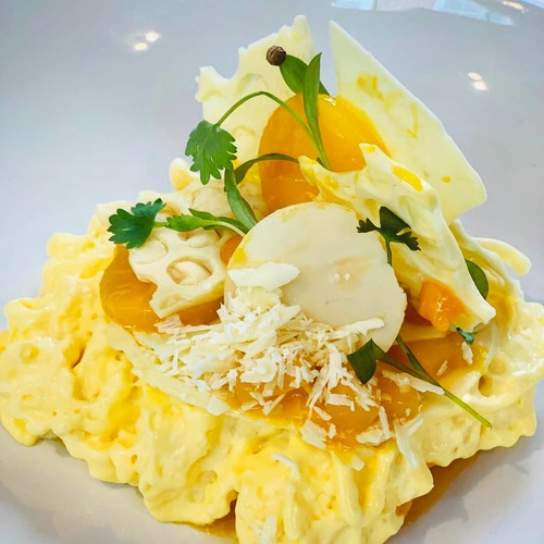 White chocolate,mango,coriander