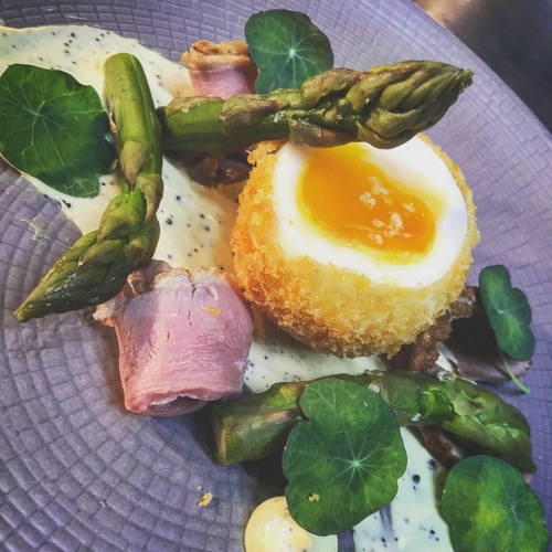 Crisp jersey duck egg-asparagus-cured duck ham-truffata & English rapeseed mayonnaise