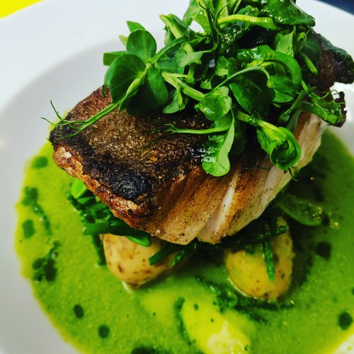 Butter roasted Cod loin with Pea and fennel veloute. New potatoes and samphire. Always popular. So very green and fresh. A proper plate of food.