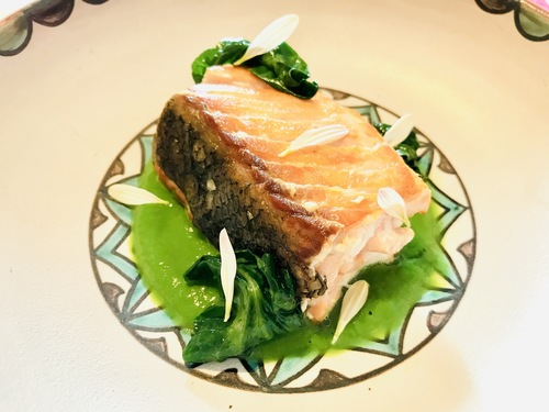 "Salmon ""a la plancha"", spinach jus and spinach sautèe :yum:"