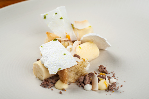 Gorse flower parfait, lime meringues, coconut gel and white chocolate namelaka.