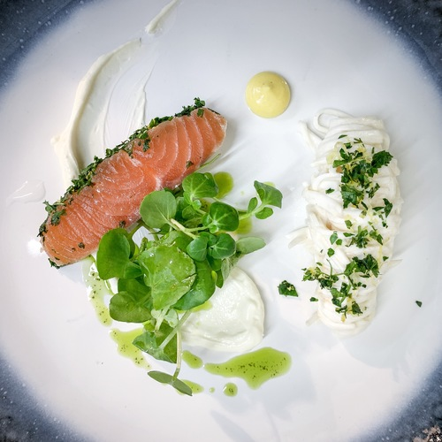 Gin & mustard salt cured salmon, truffle celeriac remulade, watercress & mustard sauce