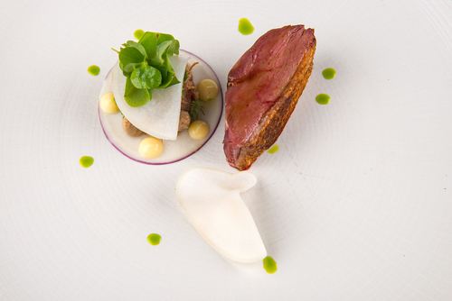 Goosnargh duck breast, pickled turnip, foie gras parfait, dashi emulsion and wood sorrel.