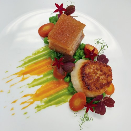 "Pork Belly & Scallop Duo: "" Peas & Carrots"""