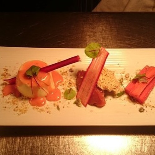 Rhubarb 3 ways and panna cotta