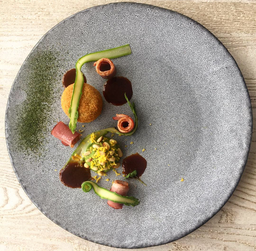Smoked duck carpaccio | Confit leg croquette | Cured duck yolk | Asparagus
