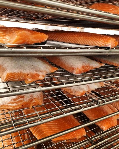 Our salmon during the curing process.