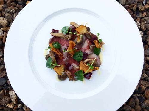 Smoked venison, pickled mushrooms, crisps & mushroom ketchup