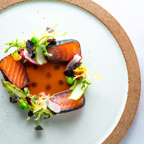 Cured salmon with nori ,avocado purre