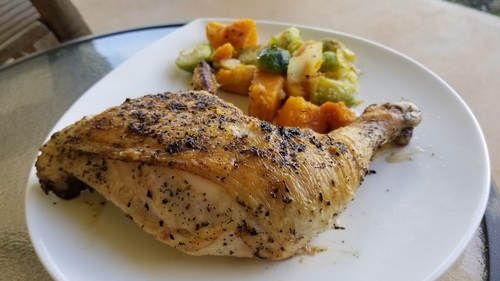 Pan cooked tuscan chicken quarters with lightly sauted  veggies