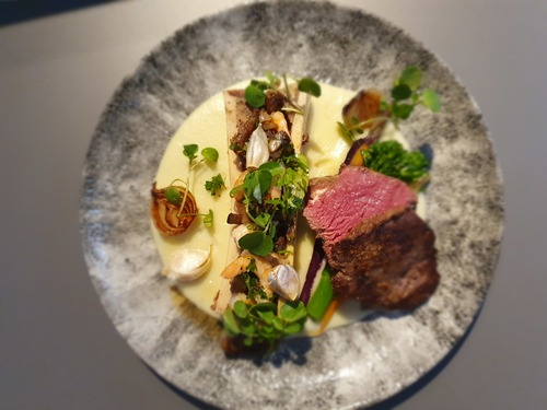 Seared beef, prawns marrowbone mushrooms, roasted garlic shallots potato puree
