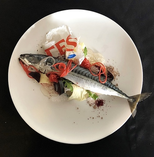 Whole soused mackerel •natural habitat garnish