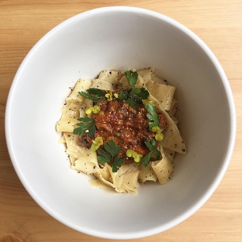 Pappardelle cooked in bone marrow, longhorn ragu