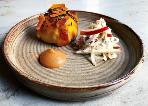 Old spot pork Eccles cake, celeriac, burnt apple purée