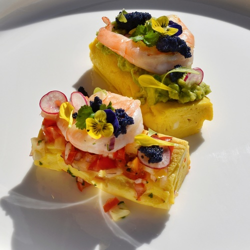 Tamago omlette with -mashed avocado, prawn and herring roe -pineapple salsa, prawn and herring roe