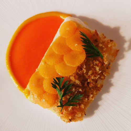 Plaice, carrot, ginger