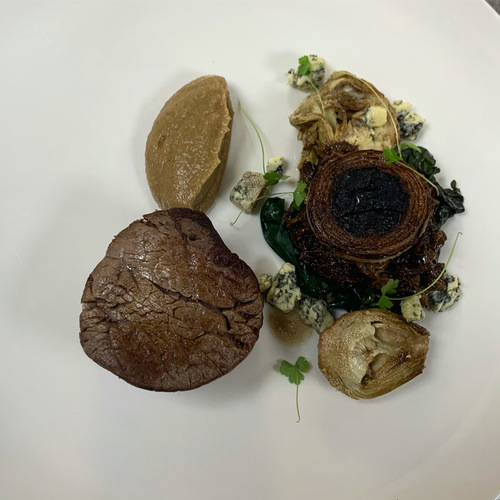 Beef fillet, artichoke, oxtail, roscoff and perlas