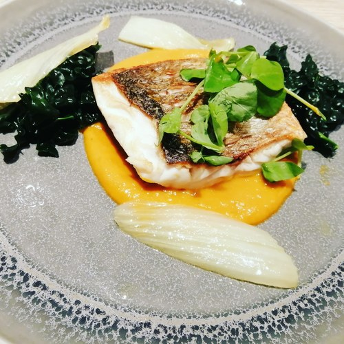 Wild sea bass, cavelo nero, confit fennel & coconut cream bouillaibasse...