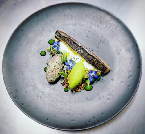 Lightly Cured and Torched Mackerel, Belly Tartare, Dill Ice Cream, Cucumber Ketchup, Horseradish Buttermilk, Puffed Wild Rice, Borage.