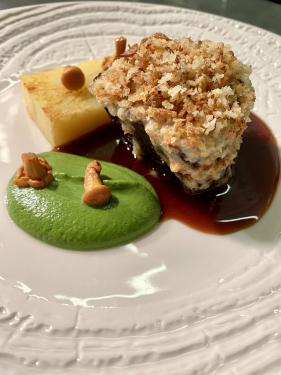 Braised beef featherblade, onion, bone marrow crumb, parsley and anchovy purée, potato terrine, pickled girolle
