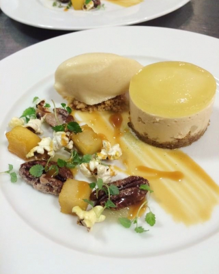 Caramelized apple, popcorn and candied pecan nuts cheesecake, icecream and textures