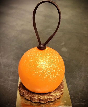 Dark chocolate and orange petit gateau bauble