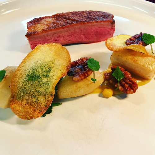 Loxwood duck, smoked corn, Jerusalem artichoke, pecan
