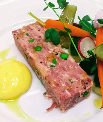 Ham hock terrine, pickled vegetables,, mustard emulsion, walnut oil