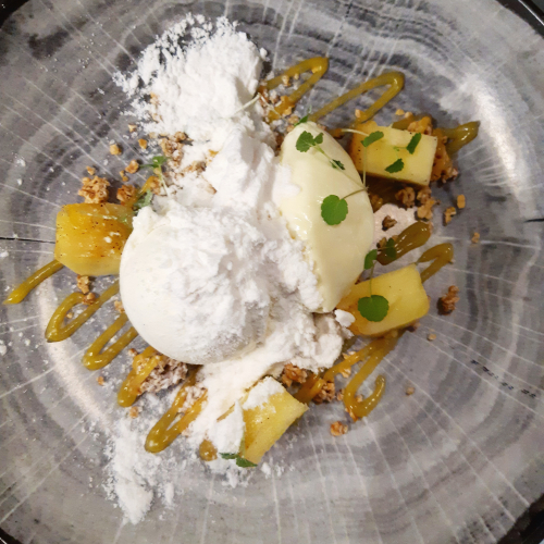 Carmelised pineapple/ white chocolate mousse  / vanilla ice cream