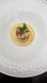 Monkfish, and foie gras, wrapped with parma ham,  salmon roe, orange foam, and lobster beurre blanc!