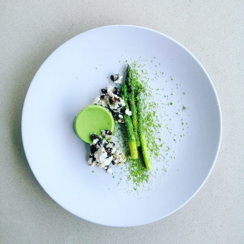 Pea Bavarois, lemon and pistachios marinated asparagus, baked feta and pumpkin seed, pea salt