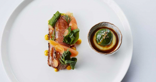 Honey Glaze Duck Breast with Szechuan Pepper, Carrot, Ginger and Chou Farci.jpg