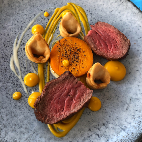 Beef Fillet/Pumpkin Purée/Beef Fat Roasted Pumpkin/Blue Cheese and Chive Fried Wontons