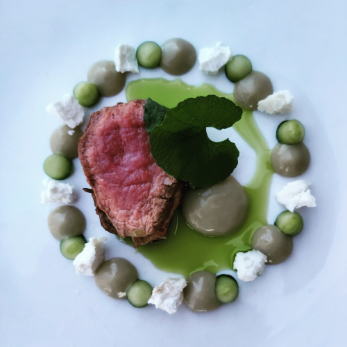 Lavender lamb black n blue~jack by the hedge~cucumber~goats cheese~fermented apple & anchovy ketchup