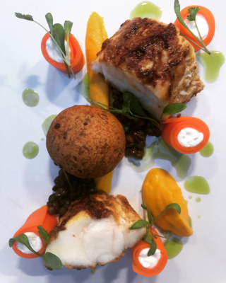 Spiced monkish, lentil pakora, curried carrot, coriander