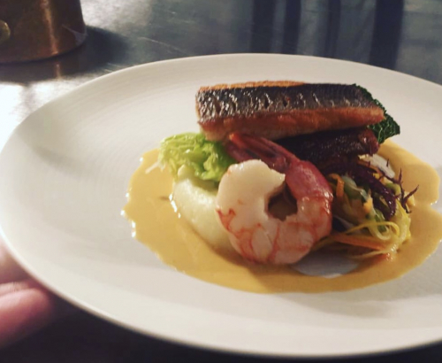 Stone bass, smoked potato, red prawn