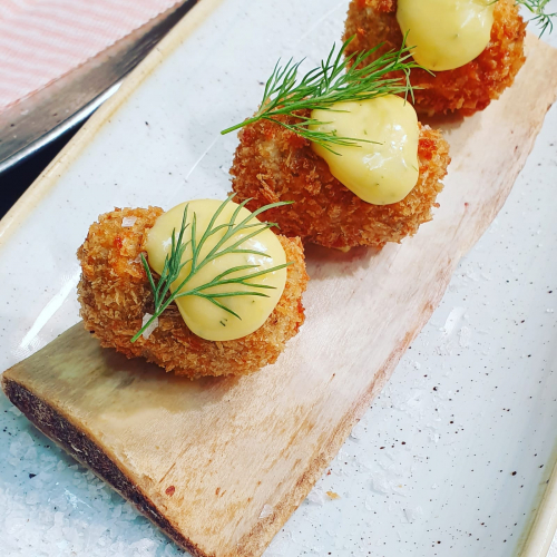 Beef Shortrib Croquettes, Dill Hollandaise