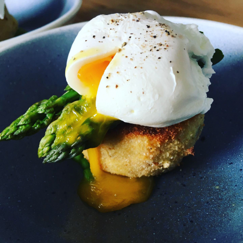 Fish cake,local asparagus,poached eggs