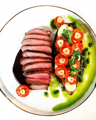 Lamb rump steak with eggplant and cherry tomatoes
